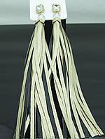 Модные длинные серьги с кисточкой-бахромой  черно-золотые