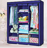 Раскладной тканевый шкаф для одежды HCX Storage Wardrobe АМ-88130 Мобильный шкаф 3 секции Синий