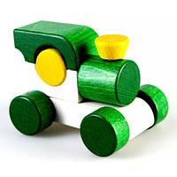 Деревянная игрушка Паровозик Малыш, зелёный Ду-02 Руди