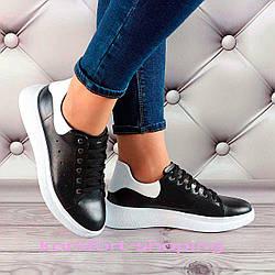 Женские кроссовки на шнуровке кожаные, черные  V 1352