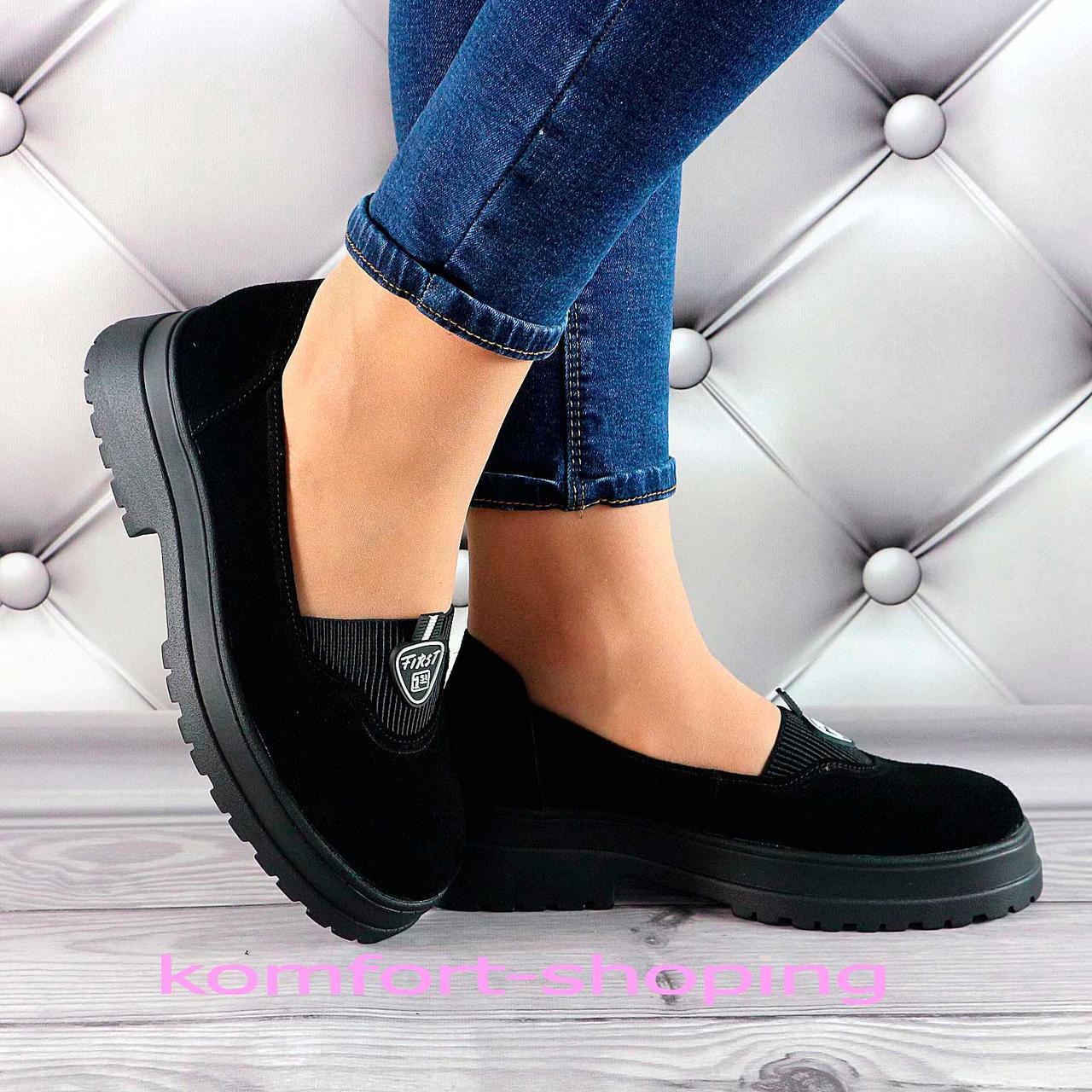 Туфли  женские черные, замшевые V 1378