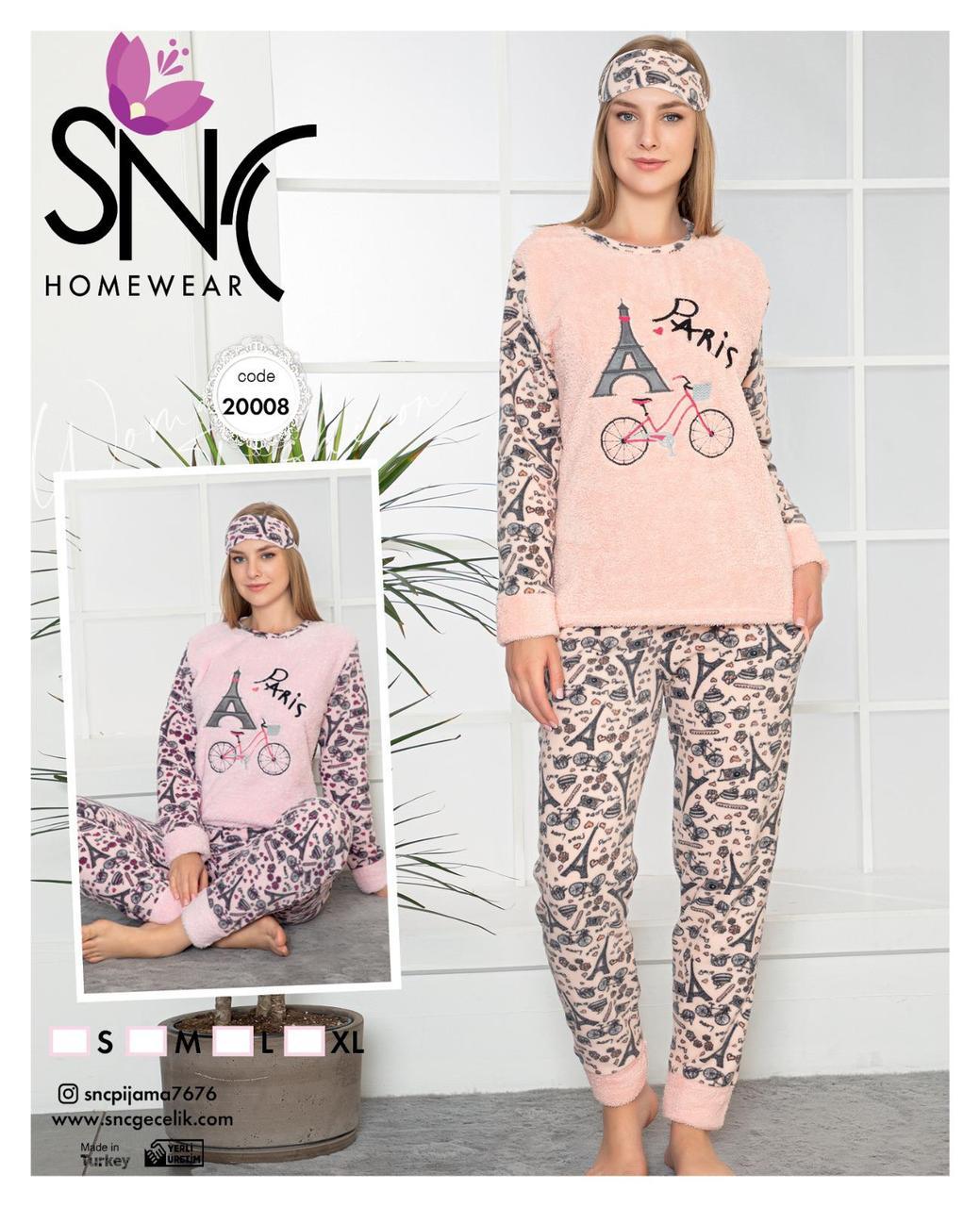 Жіноча флісова піжама з пов'язкою SNC Homewear Paris