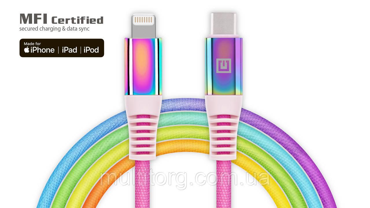 Кабель REAL-EL MFI PD USB Type C - Lightning Rainbow 1m