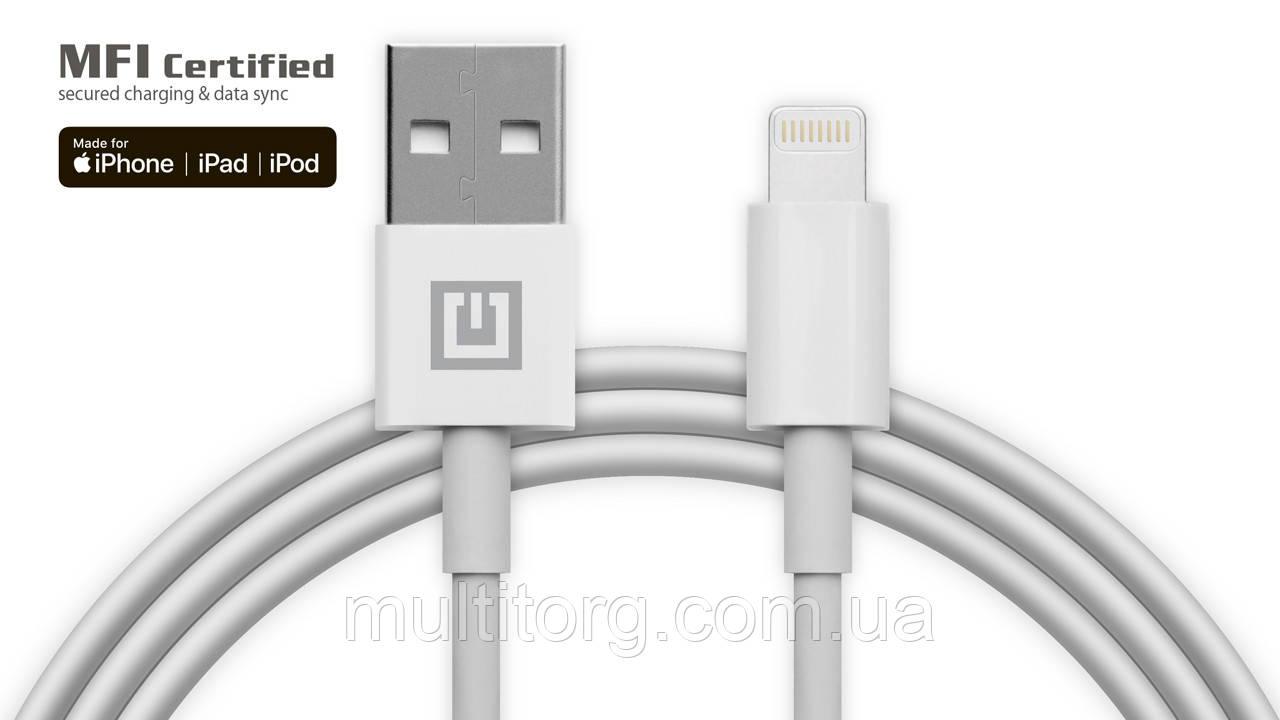 Кабель REAL-EL MFI USB A - Lightning TPE 1m белый