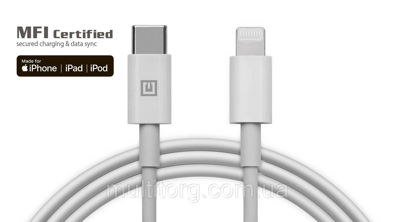 Кабель REAL-EL MFI PD USB type C - Lightning TPE 2m белый