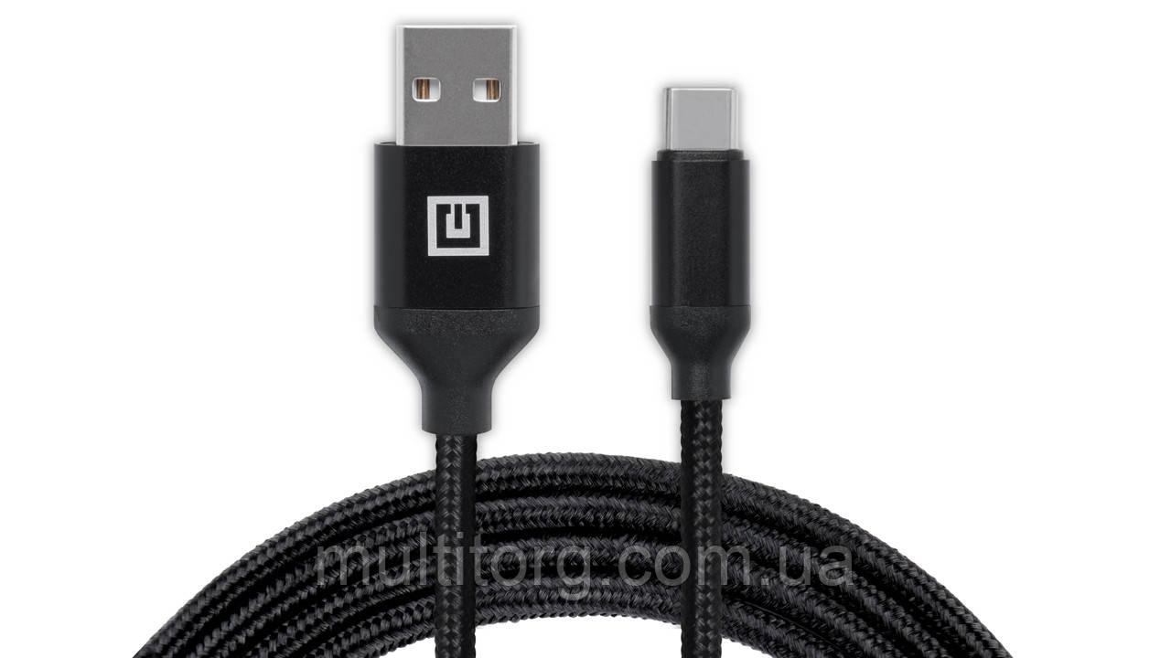 Кабель REAL-EL Premium USB A - Type C Fabric 2m чорний