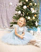 Голубое новогоднее платье детское, платье на новый год девочке, новогоднее платье для детей