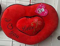 Две Валентинки плюшевые - в виде сердца красивый подарок для девушки