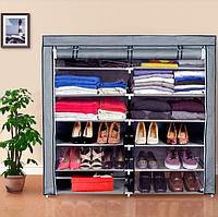 Тканевые сборные шкафы для одежды Органайзер для хранения вещей и обуви, Сборный шкаф для вещей Синий T2712