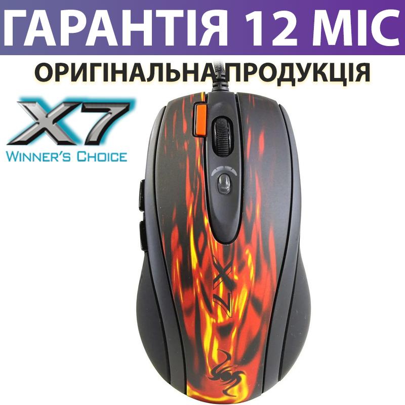 Ігрова миша A4Tech X7 XL-750BK Red USB чорна, дротова, геймерська мишка а4 х7