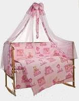 """Детский постельный комплект bepino """"мишки домики"""", розовый"""