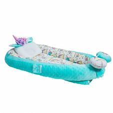 Кокон-гнездышко для новорожденных с держателем для игрушек и ортопедической подушкой Единорог, бирюзовый, фото 3