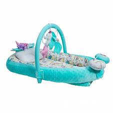 Кокон-гнездышко для новорожденных с держателем для игрушек и ортопедической подушкой Единорог, бирюзовый, фото 2