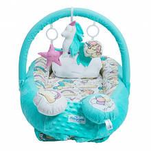 Кокон-гнездышко для новорожденных с держателем для игрушек и ортопедической подушкой Единорог, бирюзовый