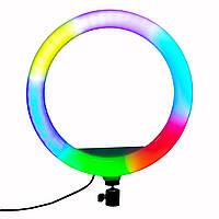 Светодиодное RGB LED кольцо для селфи MJ33, селфи лампа кольцевая разноцветная с держателем