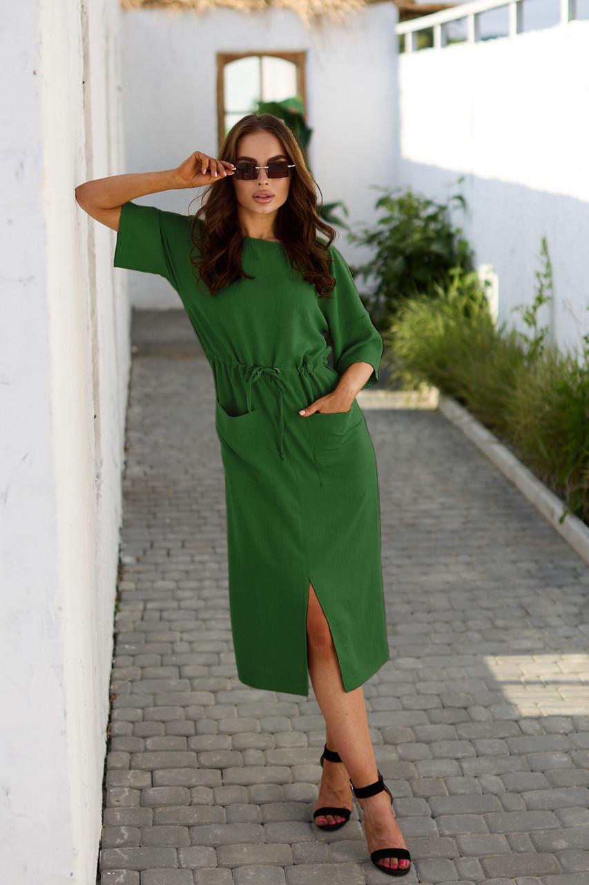 Літній зелене повсякденне плаття міді з кишенями