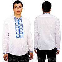 Біла чоловіча вишиванка з синьою вишивкою, фото 1