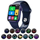 Смарт часы Фитнес браслет трэккер Apl Watch Series 6 M26 PLUS пульсометром тонометром синие + Подарок, фото 4