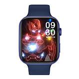 Смарт часы Фитнес браслет трэккер Apl Watch Series 6 M26 PLUS пульсометром тонометром синие + Подарок, фото 6