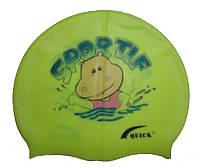 Детская шапочка для плавания желтого цвета, с рисунком, фото 1