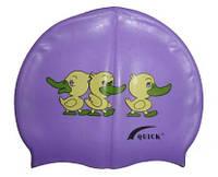 Детская шапочка для плавания фиолетового цвета, с рисунком, фото 1