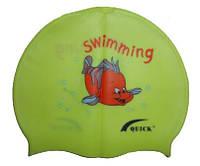 Дитяча шапочка для плавання жовтого кольору, з малюнком, фото 1