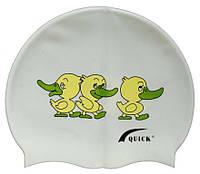 Дитяча шапочка для плавання білого кольору, з малюнком, фото 1
