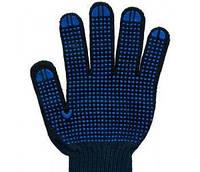 Перчатка трикотажная  9511 с синей точкой ПВХ черная (10шт) VT