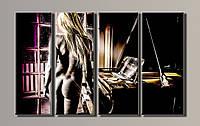 "Модульная картина на холсте из 4-х частей ""Девушка у рояля"""