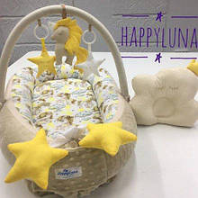 Кокон-гнездышко для новорожденных с держателем для игрушек и ортопедической подушкой Единорог, коричневый