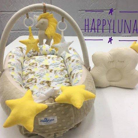 Кокон-гнездышко для новорожденных с держателем для игрушек и ортопедической подушкой Единорог, коричневый, фото 2