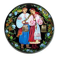 Шкатулка кругла , мініатюрна сюжетний розпис, фото 1