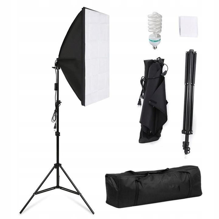 Постоянный студийный свет софтбокс 50/70 с лампой Е27 и стойкой 2.2м + сумка для переноски