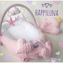 Кокон-гнездышко для новорожденных с держателем для игрушек и ортопедической подушкой Розовая мечта