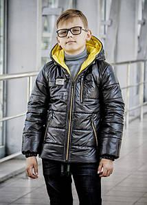 Куртка демисезонная модная для мальчика «Драйв» черная с желтым 128