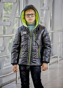 Куртка демисезонная модная для мальчика «Драйв» черная с зеленым 128
