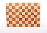 Кухонная торцевая разделочная доска из бука и граба 39х28х3,5 см, фото 1