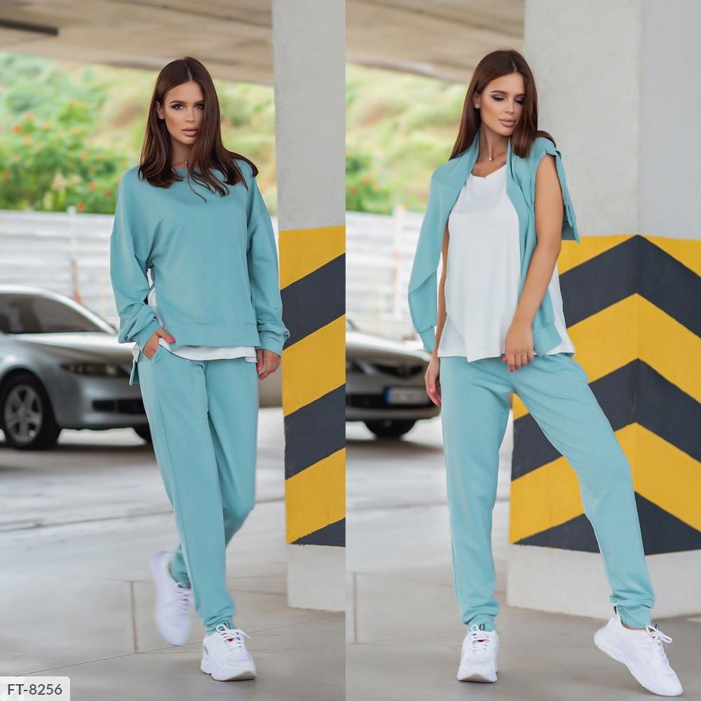 Прогулянковий костюм трійка жіночий спортивний зручний світшот, майка, штани р-ри 42-46 арт. 013