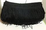 Бахрома танцевальная чёрная для одежды 13 см, тесьма 1 см, длина нитей 12 см, фото 2