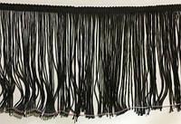 Бахрома танцевальная чёрная для одежды 13 см, тесьма 1 см, длина нитей 12 см