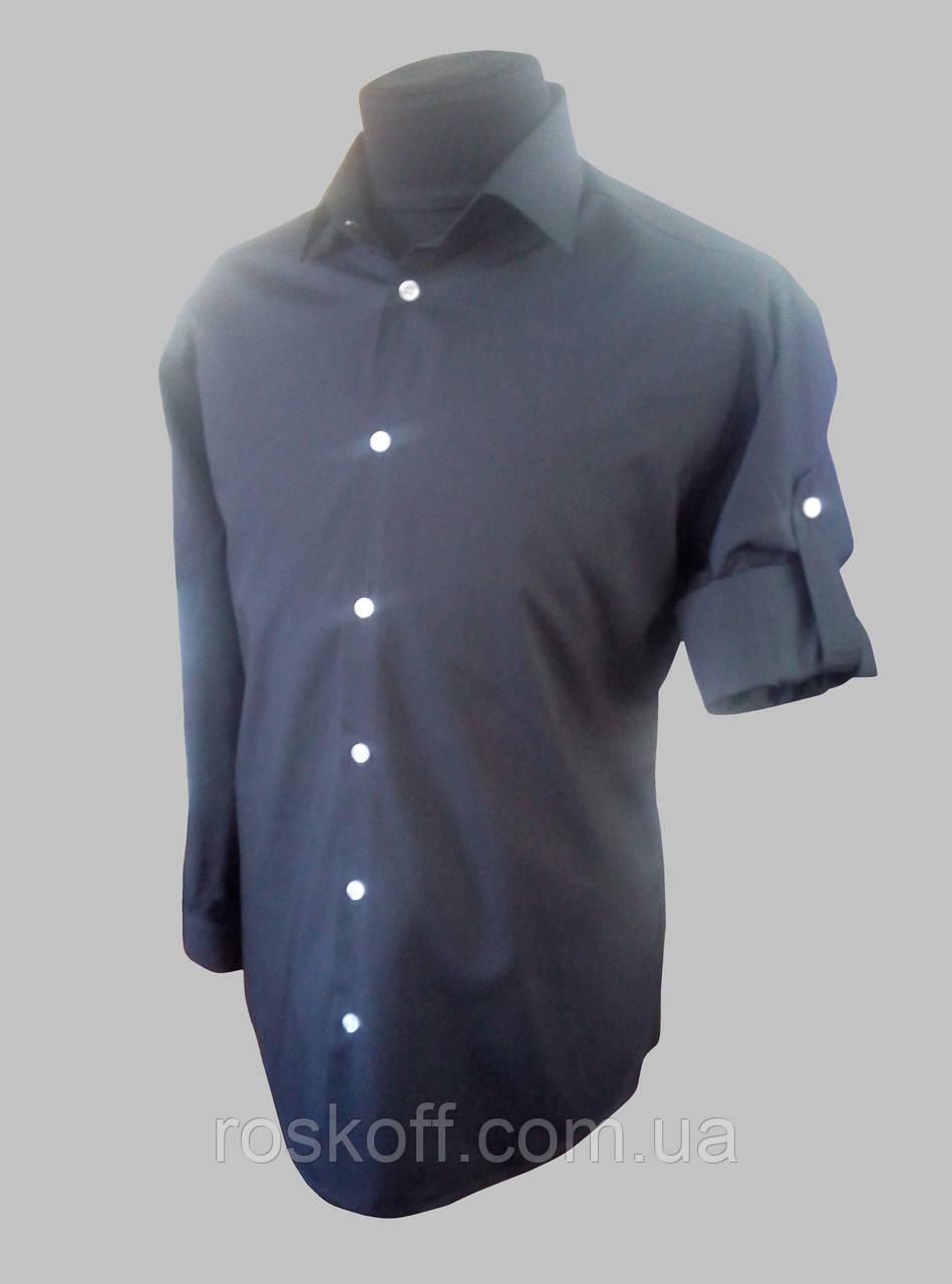 Мужская рубашка c длинный рукавом черного цвета с патами