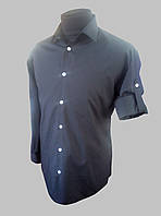 Мужская рубашка c длинный рукавом черного цвета с патами, фото 1
