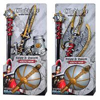 Игровой набор рыцаря 6903-4, игрушки рыцари, игровой набор для мальчиков (2 вида, шлем, булава, 61-29-4см)