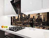 Панель на кухонний фартух під скло бруклінський міст в променях вогнів, з двостороннім скотчем 62 х 205 см