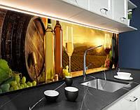 Кухонна панель на кухонний фартух винні келихи і бочки, на двосторонньому скотчі 68 х 305 см
