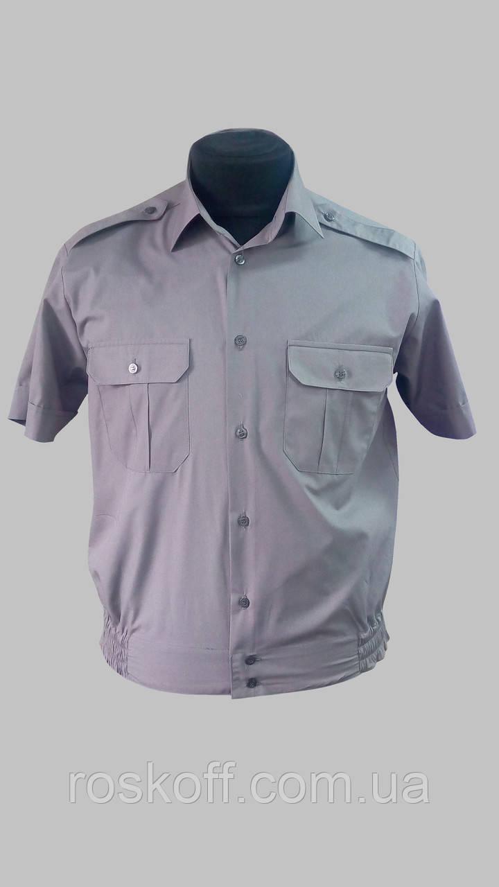 Форменная рубашка серая с коротким рукавом