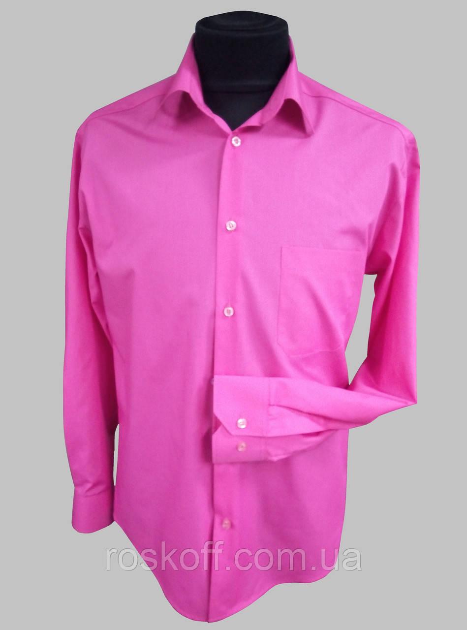 Мужская рубашка малиновая с длинным рукавом