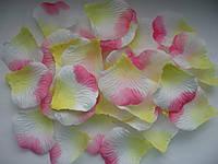 Лепестки роз Цвет MAGIC (бело-желто-розовые) искусственные 200 шт. Украшение праздника, свадьбы, торжества