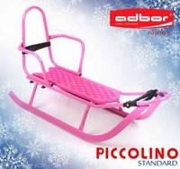 Adbor Piccolino санки детские со спинкой, цвет розовый