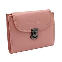 Женский кожаный кошелек маленький розовый Cavaldi RD-19 GCL pink